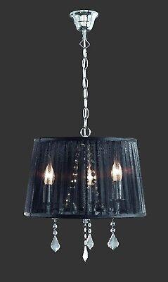 Trio Leuchten Pendelleuchte Organza Schwarz Kronleuchter 1121031 06 38cm Neu