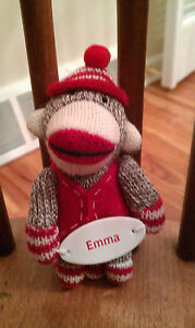 North Pole Trading Co. personalized plush Sock Monkey Christmas ornament EMMA