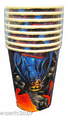 Batman 9oz Paper Cups (8) Vintage Super Hero Birthday Party Supplies Beverage