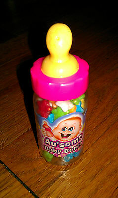 Unopened Au'some Baby Bottle-shaped Container Filled With Candies Pink Yellow