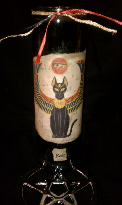 Wicca Witch Pagan Altar Spell Magick Egyptian BAST Goddess Diety Ritual Candle