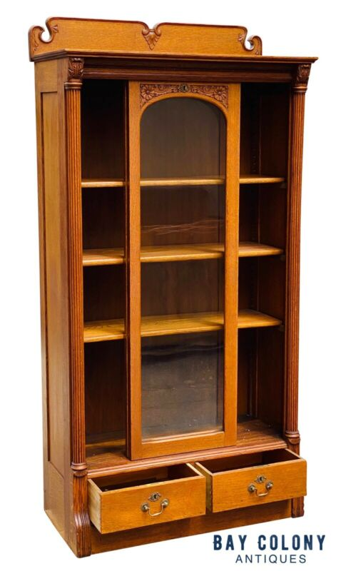 19TH C ANTIQUE TIGER OAK SLIDING GLASS DOOR VICTORIAN BOOKCASE