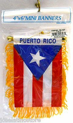 Puerto Rico 4 x 6 Mini Banner Flag Both Sides Flag with Suction Cup! YG-1327PR