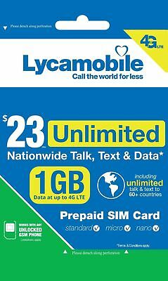 Lycamobile $23 Plan Prepaid 1st Month Free SIM Card 1GB 4G Unlimited Talk, Text