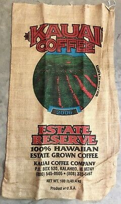 2006 Kauai Coffee Beans 100# Burlap Bag 22x39 Sack Po'okela Farm Kalaheo Hawaii