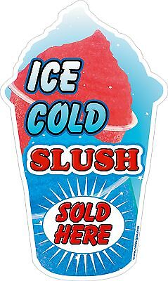 Slush Sticker blue shaped Ice Cold Sold Here  LARGE DECAL CUT UV LAMINATED