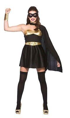 Womens Superhero fancy dress costume Black Gold Dress cape mask cuffs ()