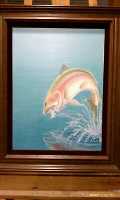 Wiley Miller Fishing Facts Original Oil Painting: March 1977-Rainbow Trout Jumps - Rainbow Fish Facts