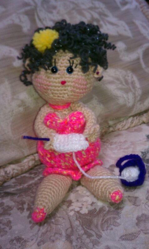 Auntie Clarissa - handcrafted crocheted - amigurumi doll- senior citizen.