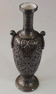 Deruta Maioliche 11 3 4  Pewter Bronze Finish Urn Vase Euc