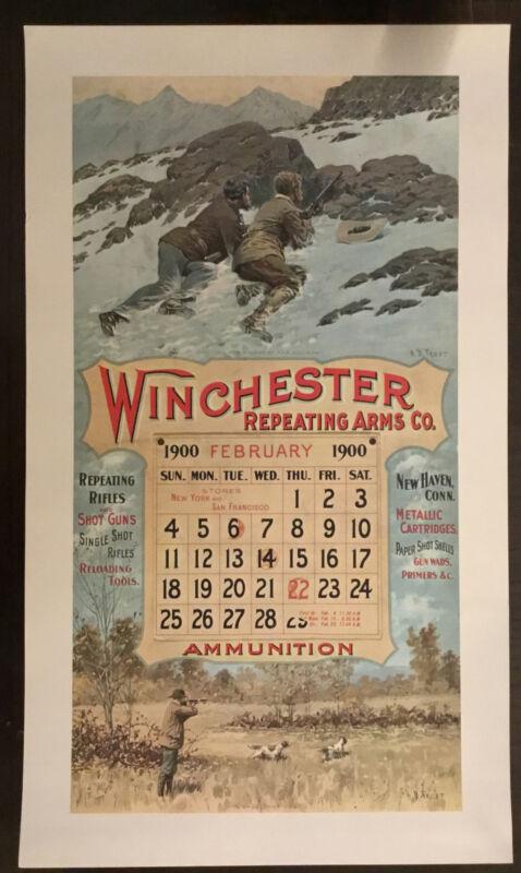 Vintage Winchester Ammunition Firearms Poster Calendar Print February 1900~Frost