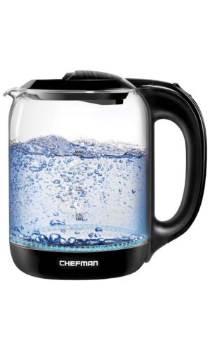 Chefman Electric Glass Kettle with One Touch Easy Operation