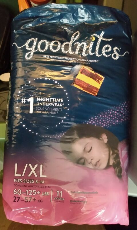 GOODNITES BEDTIME BEDWETTING NIGHTTIME UNDERWEAR FOR GIRLS, L-XL 11 Ct. NEW