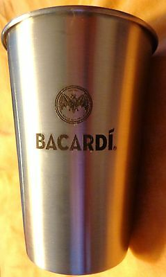 Bacardi Rum - Stainless Steel Shaker - Bat Logo - Shiny...NEW