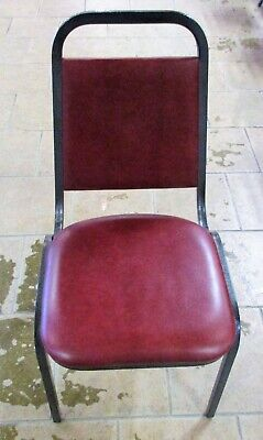 Nice Banquet Chairs - Metal Frame And Maroon Faux Leather - Stackable - Qty 138