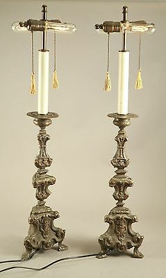"Early Antique 18thC Thin Pressed Brass Bronze 32.5"" Tall Lamp Candlesticks"