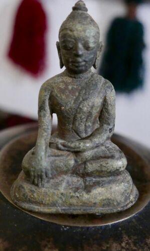 """Antique Miniature Bronze Burmese Buddha in Bhumisparsha Mudra Posture  3 1/2""""H"""