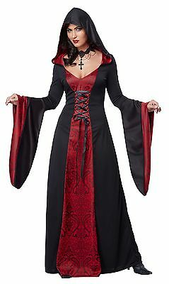 Gothic Vampire Witch Hooded Robe Adult Women Halloween Costume - Vampires Costumes Halloween