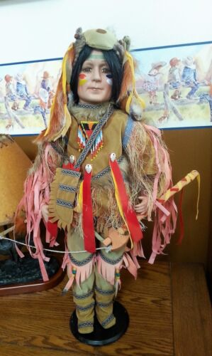 """Running Wolf Native American Indian Doll 26"""" Porcelain Limited Edition 299/2500"""