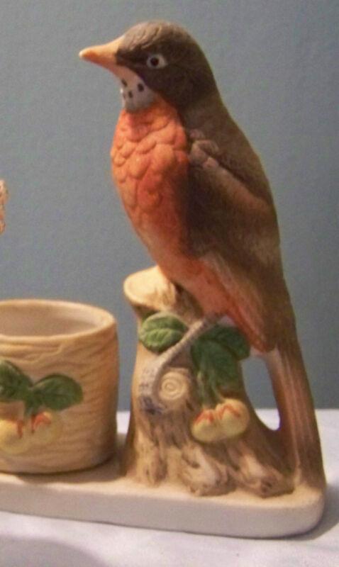 Porcelain Jasco Luvkins Songbirds Figural Robin Candle Holder