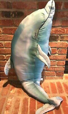 Tree House Kids GIANT STUFFED BLUE DOLPHIN Plush Pillow Toy Animal Fish - Giant Dolphin Stuffed Animal