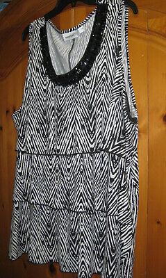 Womens Plus Size BLACK WHITE BEADED Ruffle Top Shirt Blouse by AVENUE 5x 30/32