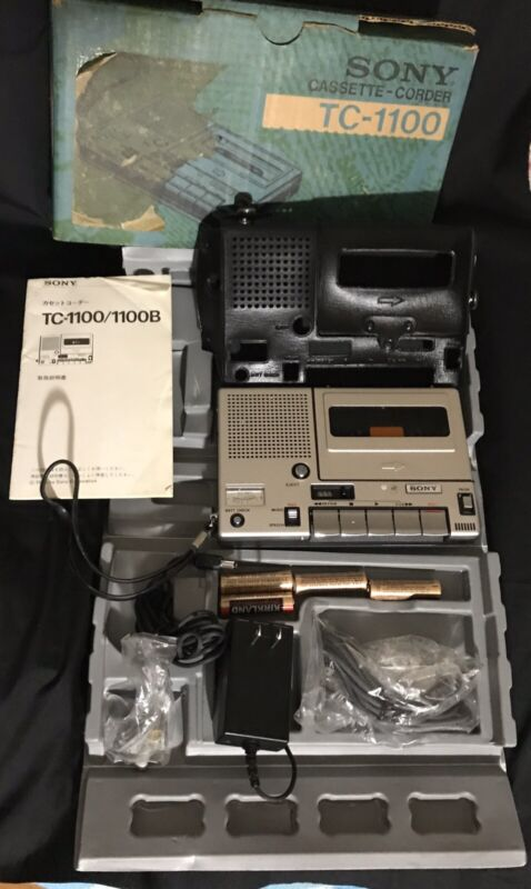 SONY TC-1100 Cassette Recorder/ Player. Comes With Cords, Manual and Box. RARE!!