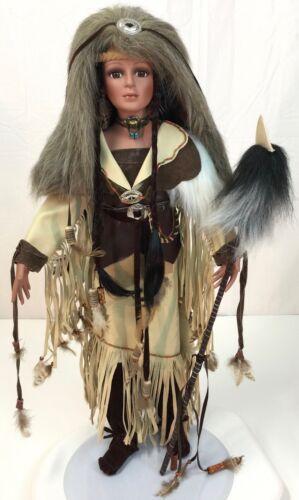 "TIMELESS AUTHENTIC 26"" inch Southwest PORCELAIN DOLL Name Indian BUFFALO LADY"