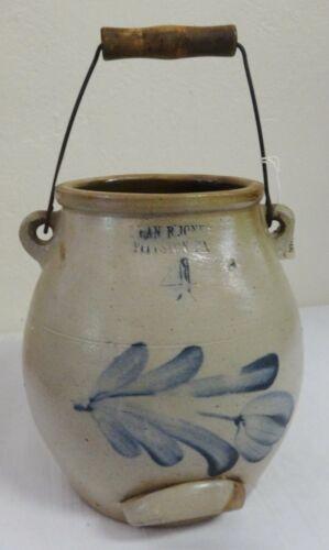 Antique 1.5 Gal.Stoneware Batter Pail Cobalt Decorated Floral Evan-Jones