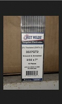 1 Pack10pc Tig Welding Tungsten Rod Electrodes 2thoriated 332 X 7redwt20