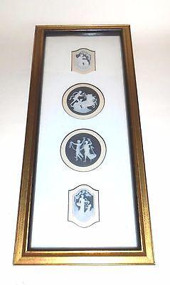 Beautiful Framed Set of 4 Limoges France Porcelain Cameo Medallions