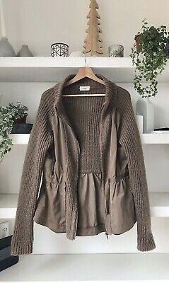 HOSS INTROPIA designer taupe wool blend cardigan-jacket, 2 types fabric! Uk10/12