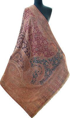 Large Diamond Kani Wool Jamawar Paisely Pashmina Shawl Coloful Red Burgundy Teal for sale  Shipping to India