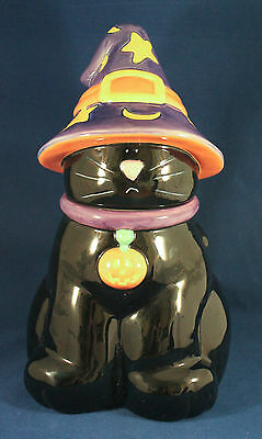 Halloween Black Cat In Witches Hat Harry And David Holiday Cookie Jar - Harry And David Halloween Cookies