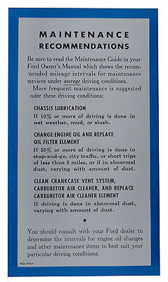 1955 1956 1957 Lincoln Owners Manual Maintenance Sheet