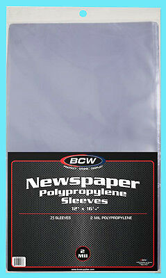 "25 BCW 12X16 NEWSPAPER 2 MIL STORAGE SLEEVES Clear Poly Art Photo Print 12""x16"""