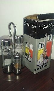 Glass salad dressing bottle 4 of set(New in box) Sans Souci Rockdale Area Preview