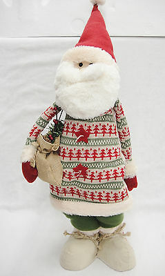 Large Santa Doll Soft Sculpture Figure Knit Christmas Tree Sweater 25