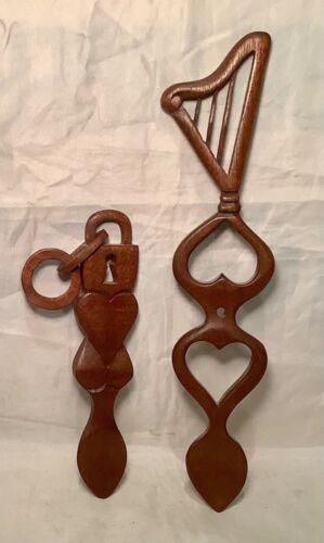 Set of 2 Vintage Hand Carved Wood Welsh Love Spoons Lock Key Heart Harp
