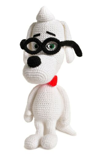 White Peabody Dog Handmade Amigurumi Stuffed Toy Knit Crochet Doll VAC