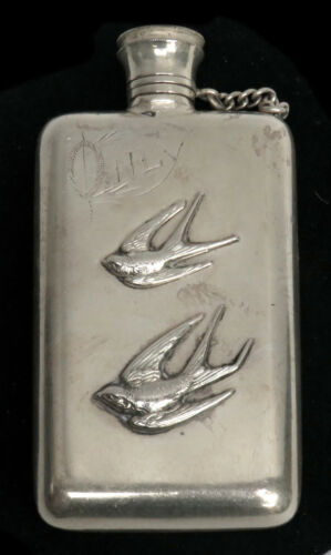 1870 AESTHETIC PERIOD ANTIQUE PLATE FLASK APPLIED SPARROWS MONO