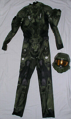 Halo Master Chief 3D w Mask Child Halloween Costume Size XL 14-16 2 Pc Cosplay