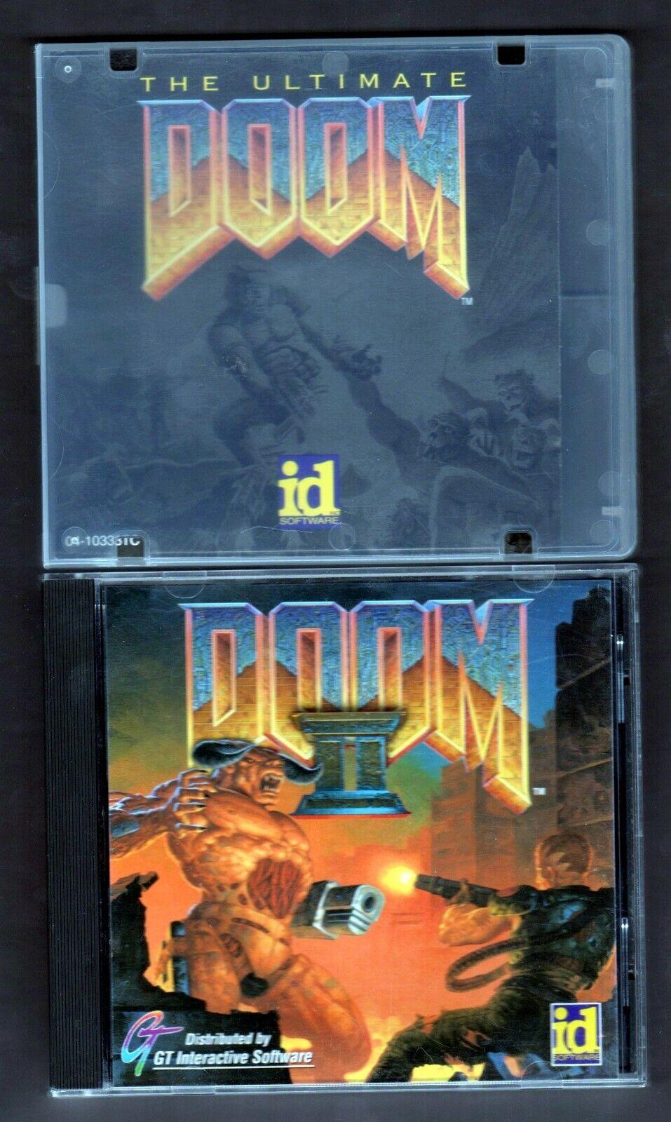Computer Games - Doom & Doom II - PC Game Retro Computer Video Game CD-Rom - LOT of 2 Games