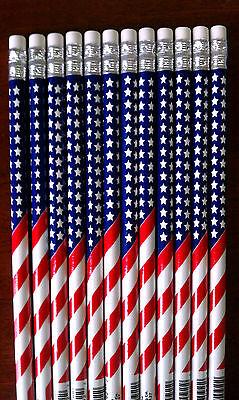6 - American Flag 2 Pencils - Patriotic - Back To School - Us U.s. Usa U.s.a.