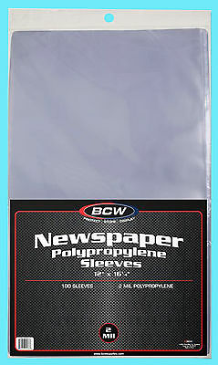 "100 BCW 12X16 NEWSPAPER 2 MIL STORAGE SLEEVES Clear Poly Art Photo Print 12""x16"""