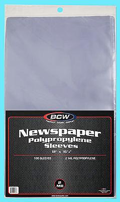 "100 BCW 12X16 NEWSPAPER 2 MIL STORAGE SLEEVES Clear Poly Art Photo Print 12""x16"""