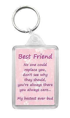 BEST FRIEND Keyring Keyfob Poem Novelty Birthday Christmas Gift Keepsake ()