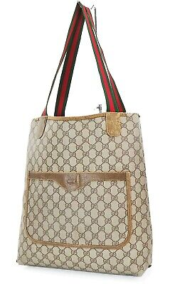 Authentic Vintage GUCCI Brown GG PVC Canvas and Leather Tote Bag Purse #37076