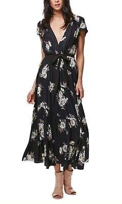Free People OB560654 All I Got Printed Cap Sleeve Maxi Dress in Black Combo Sz 8