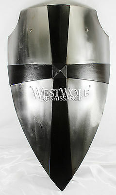 Hand-Forged Medieval Cross Shield - Battle-Ready Steel --- sca/larp/gothic/armor